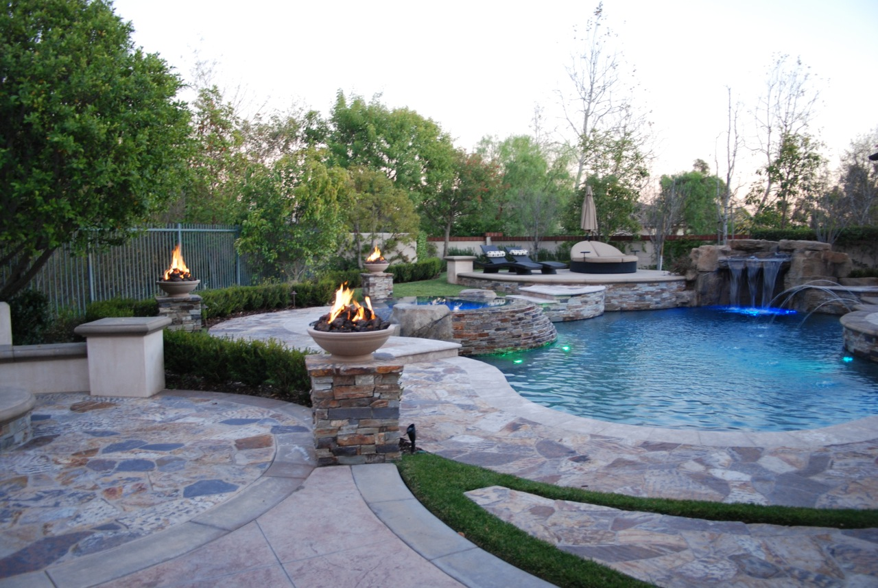 Pool contractors photo gallery aquanetic custom pools and spas in orange county - Pool fire bowls ...