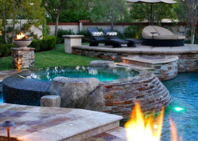 Tustin Custom Pool and Fire Feature by Aquanetic Pools and Spas