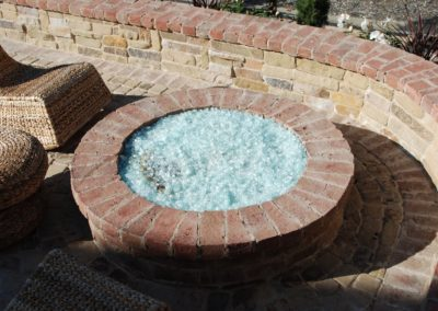 Brick Raised Fire Pit & Seat Wall
