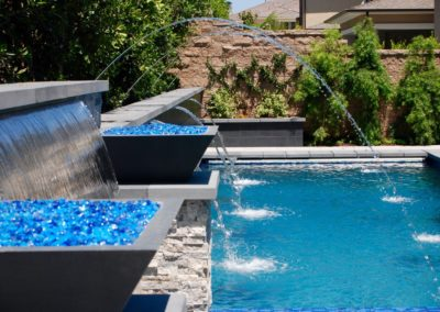 Contempoary Pool & Spa with Fire Bowls