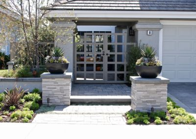 New Front Yard With Paver Driveway & Stone Pilasters