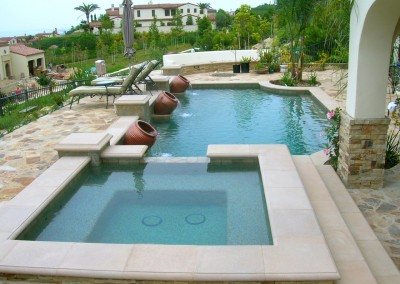 Classic Pool With Raised Spa & Vase Water Feature