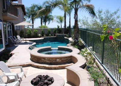 Free Form Pool With Raised Spa & Fire Pit