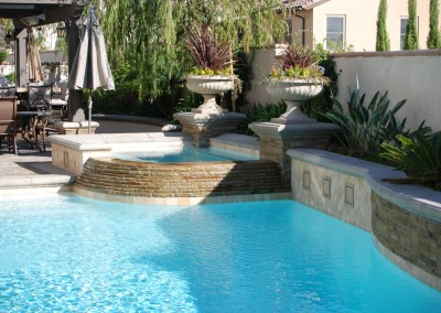 Classic Pool With Trickle Down Spa Wall