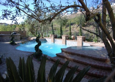 Classic Pool With Brick Pilasters & Water Features