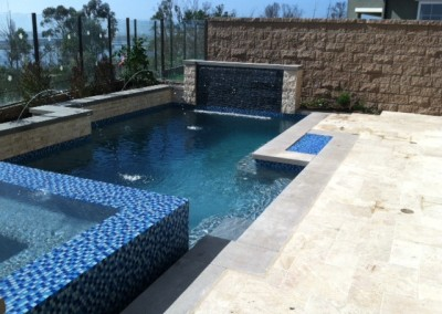 Transitional Pool with Fire Pit, & Water Feature