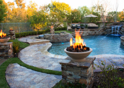 Stone Free Form With Gas Fire Bowls