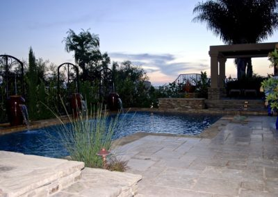 Beautiful Water Feature with Travertine Pool